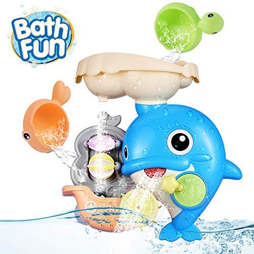 OYE HOYE Badewannenspielzeug für Babys, Delphin Badewannenspielzeug Wassermühle Fun Toy mit Saugnapf Dusche Bath Toys…