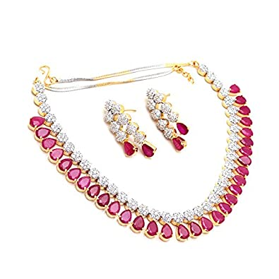 145e0077e4 Image Unavailable. Image not available for. Colour: Jewar Mandi Gemstone  Necklace Set Precious red Ruby ...