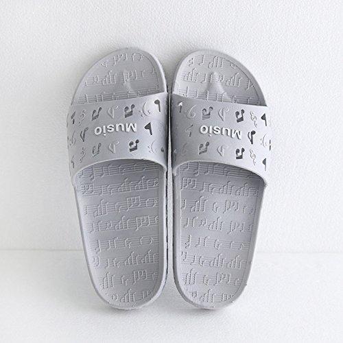 fankou Zapatillas de Mujer Cool Verano Viaje Interior y Exterior Gruesa Inicio Adultos Zapatillas de Baño,43-44, Música Gris