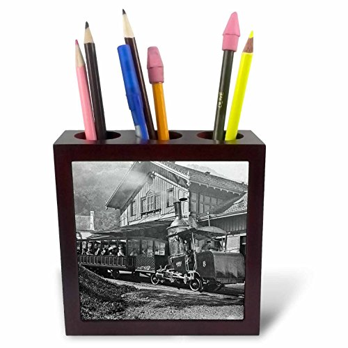 Scenes from the Past Magic Lantern - Magic Lantern Rigi Railway Steam Engine The Alps Switzerland Vintage - 5 inch tile pen holder - Alps Ceramic
