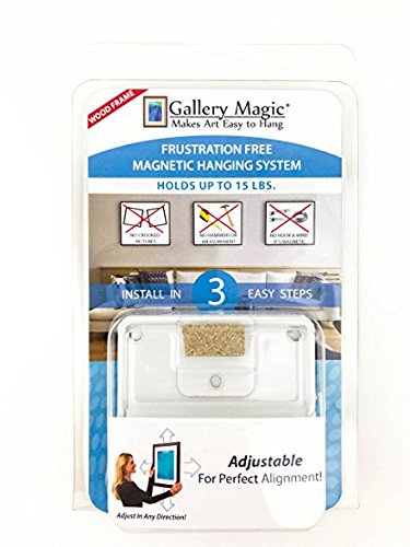 3 Pack of Gallery Magic Adjustable Magnetic Picture Hanging Hardware Kit - Frustration Free Picture Hangers - Holds Up to 15lbs. by Gallery Magic