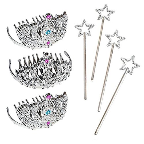 24 Piece Mini Tiara and Star Wand Party Pack - Party Favors, Goody Bags, Princess, Dress Up, Halloween, -