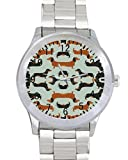 Dachshund Art Custom Watches For Unisex Stainless Steel Metal Band