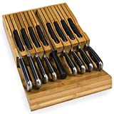In-Drawer Bamboo Knife Block Holds 16 Knives (Not Included) Without Pointing Up PLUS a Slot for your Knife Sharpener! Noble Home & Chef Knife Organizer Made from Quality Moso Bamboo