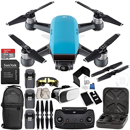 DJI Spark Portable Mini Drone Quadcopter (Sky Blue) + DJI Spark Remote Controller EVERYTHING YOU NEED Ultimate Bundle