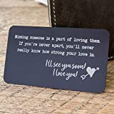 Metal Wallet Card Insert with engraved quote for missing someone - long distance relationship gift - deployment gift - missing friend gift)