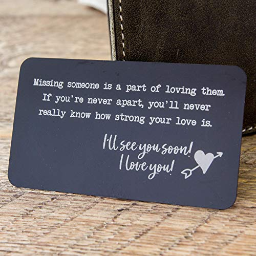 Metal Wallet Card Insert with engraved quote for missing someone - long distance relationship gift - deployment gift - missing friend gift) by Muujee