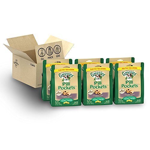 GREENIES PILL POCKETS Capsule Size Natural Dog Treats with Duck Flavor, (6) 6.6 oz. Packs (150 Treats)