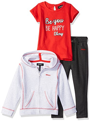 DKNY Baby 3 Piece Forever Girl Gang T-Shirt, Hoodie, and Pant Set, Haute red 12M