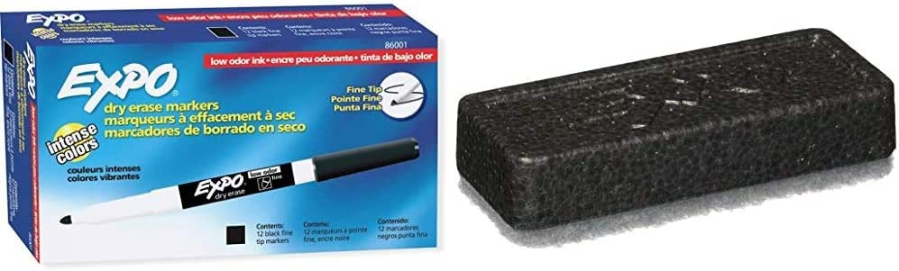 EXPO 86001 Low Odor Dry Erase Marker, Fine Point, Black (Pack of 12) & 81505 Block Eraser Dry Erase Whiteboard Board Eraser, Soft Pile, 5 1/8 W x 1 1/4 H - Pack of 1