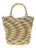 Rainbow Wine Tote w/Bamboo Double Handles Purse, Large Crochet Straw Beach Bag