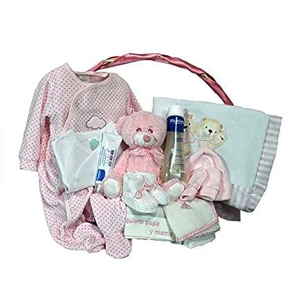 Canastilla regalo bebe - Primera Pusta Delux rosa - Cesta regalo ...