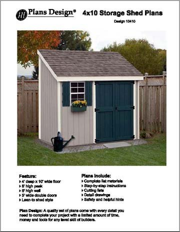 Superbe 4u0027 X 10 Lean To Storage Shed Project Plans  Design #10410