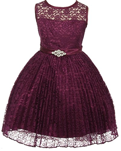 Flower Girl Dress Pleated Lace See Through Shoulder for Big Girl Plum 16 (Plum Flower Girl Dresses)