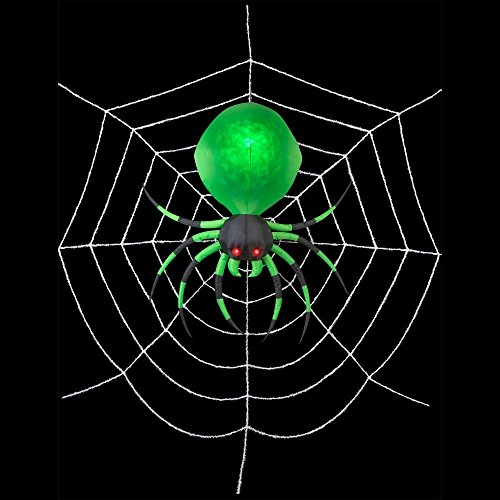 72 Inch Fire and Ice Hanging Spider Green Projection Halloween Inflatable - 17 Foot Web]()