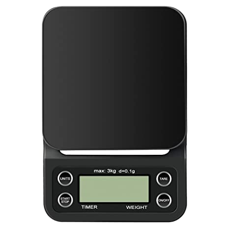Anpress - Báscula digital de café con temporizador, 3000 g, 0,1 g