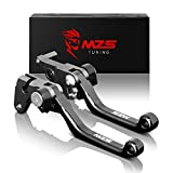 #8: MZS CNC Pivot Brake Clutch Levers compatible Yamaha ATV Raptor 660 YFM660 2001-2004/ Raptor 700 700R YFM700 2000-2006 (Black)