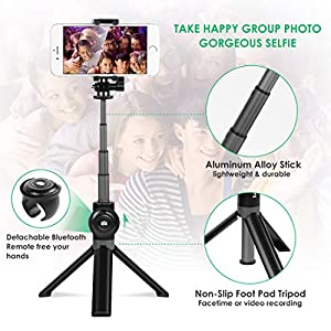 Selfie Stick Tripod, Leelbox Bluetooth Selfie Stick with Tripod and Detachable Wireless Remote, Extendable Monopod Stand Holder Universal for Digital Camera and Android iOS Mobile Smart Phone from Leelbox