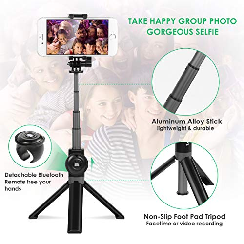 Selfie Stick Tripod, Leelbox Bluetooth Selfie Stick with Tripod and Detachable Wireless Remote, Extendable Monopod Stand Holder Universal for Digital Camera and Android iOS Mobile Smart Phone by Leelbox (Image #1)