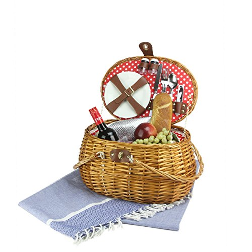 Northlight 2-Person Hand Woven Honey Willow Polka Dotted Picnic Basket Set with Accessories - Honey Willow Basket Set