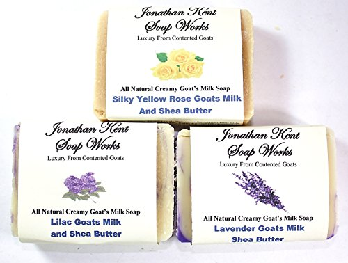 Jonathan Kent Goats Milk Soap, Saturated with 100% Creamy Farm Fresh Goats Milk, with Shea Butter, No Water – VICTORIAN GARDEN 3 BAR Sampler – Lavender, Silky Yellow Rose, Lilac, Review