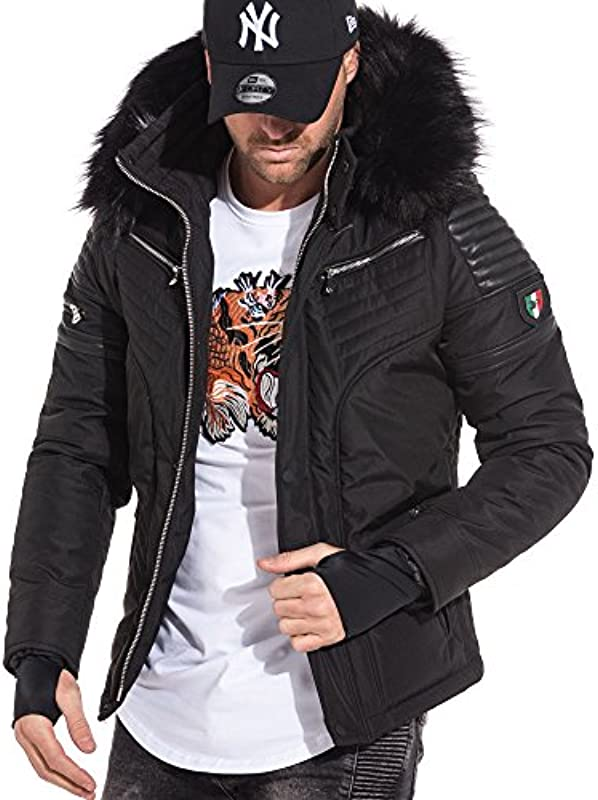 BLZ dżinsy – czarna kurtka i skÓry wkładka z wyglądu z kapturem futra Trend, kolor: czarny , rozmiar: xl/xxl: Odzież