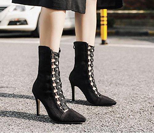 Femme Pointues Aisun Eclair Mode Noir Fille Bottines Fermeture Elastique dvp1vgqW