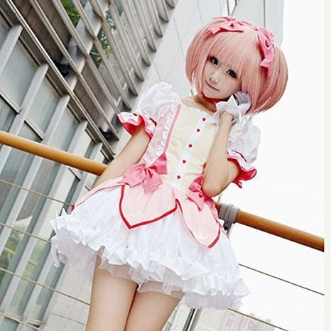 Price comparison product image Puella Magi Madoka Magica Madoka Puffy Pink Anime Cosplay Party Wig
