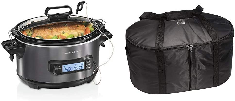 Hamilton Beach Portable 6-Quart Digital Programmable Slow Cooker With Temp Tracking Temperature Probe to Braise, (33866) and Hamilton Beach Travel Case & Carrier Insulated Bag (33002),Black