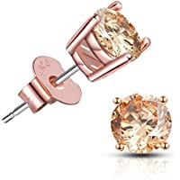 Brilliant Cut CZ stud earrings – 18K Gold Plated Stud Earrings For Women Men Ear Piercing Earrings Cubic Zirconia Inlaid,4-7 mm Available