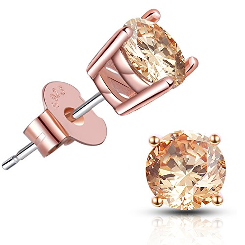 Brilliant Cut CZ Stud Earrings - 18K Rose Gold Plated Stud Earrings for Women Men Ear Piercing Earrings Cubic Zirconia Inlaid,4mm,5mm,6mm,7mm Available (Best Earrings For Large Earlobes)