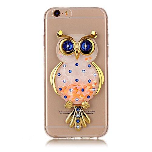 Funda iPhone 6S, Carcasa iPhone 6, Caselover 3D Bling Silicona TPU Búho Carcasas para iPhone 6S / 6 Glitter Líquido Arena Movediza Protección Caso Sparkle Brillar Cristal Tapa Case Suave Transparente  Búho Naranja