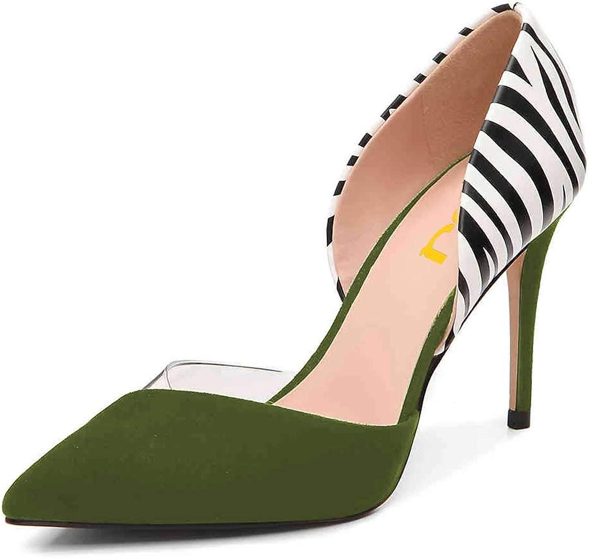 FSJ Women Formal Stiletto High Heel Pumps Pointy Toe D'Orsay Sandals Slip on Office Lady Dress Party Shoes Size 4-15 US