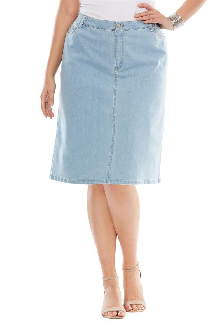 Jessica London Women's Plus Size True Fit Denim Short Skirt Bleach Wash,16