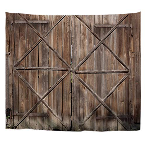- A.Monamour Western Rustic Old Wooded Barn Door with Metal Handle Wood Texture Backgrounds Print Wall Hanging Tapestry Wall Art Decors Window Curtains for Bedroom Living Room Wall 153X102Cm/60 X40