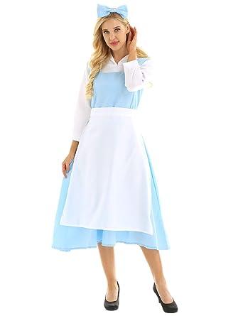 inhzoy Disfraz de Princesa Bella y Bestia para Mujer Cosplay ...