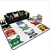 Custom Pattern Floor mat,Bulldog Superheroes Fun Cartoon Puppies in Disguise Costume Dogs with Masks Print 6'x7',Can be Used for Floor Decoration