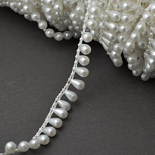 Pearl Trim (11mm 2-Yards Faux White Pear Pearl Beads on a string, Pearl Fringe Trim for Home Deco, Lamp Shade, Costume, SP-2259)