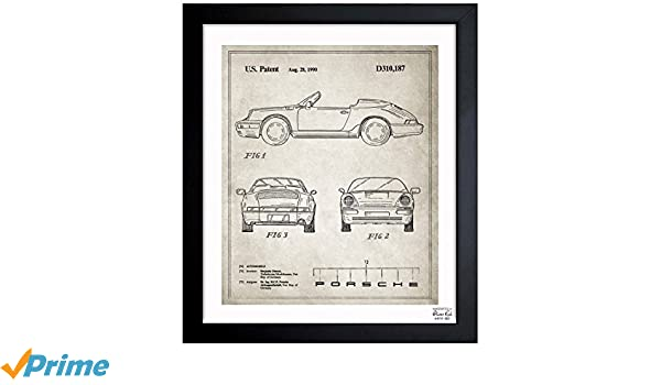 Amazon.com: Porsche 911, 1990 - Gray Vintage Framed Wall Art Print for Home Decor & Office. The Cars Wall Decor Blueprint Collection by Oliver Gal Hand ...