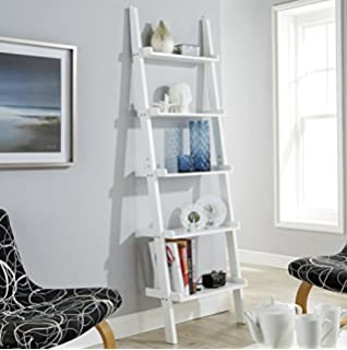 White Ladder Shelving Unit 5 Tier Display Stand   Bookcase Shelf Wall Rack  Storage
