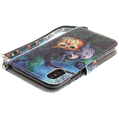 Vandot PU Funda Flip Case para iPhone X / iPhone10 Caso de Cuero con la Función del Soporte Pintado Cubierta Caja Protectora de la Teléfono para móvil iPhone X / iPhone 10 5.8 + 1x Metal Stylus Pen + GSCHPT 06