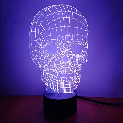 Skull 3D Night Light LED Illusion Lamp Bedside Desk Table Lamp, Loveboat 7 Color Changing Lights with Acrylic Flat & ABS Base & USB Charger as Home Decor and A - Illusion Skull