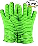 Andyshi Silicone Heat Resistant Grilling BBQ Gloves Set- Cooking Gloves, Baking, Potholder Kitchen Grilling Gloves, Oven Gloves, Camping! Waterproof Oven Mittens