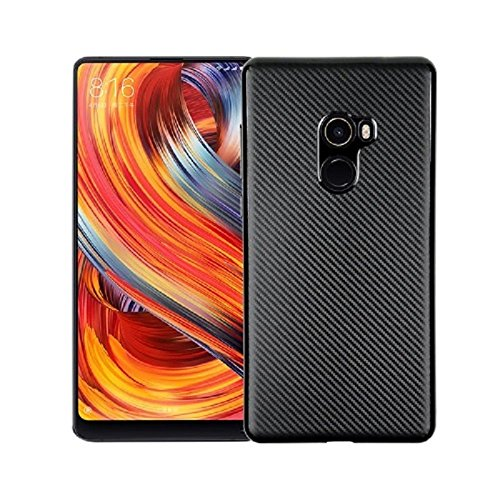 Xiaomi Mi Mix 2 Funda, Textura cepillada TPU Caso Ultra - Delgada Carcasas de a Prueba de Golpes Para Xiaomi Mi Mix 2 (Negro)
