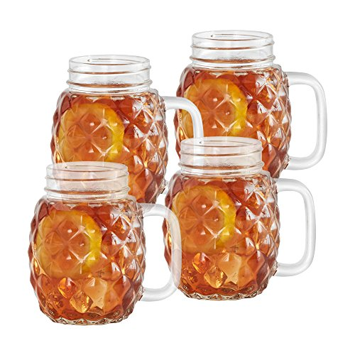 Pfaltzgraff Glass Juice (Pfaltzgraff Pineapple Glass Mason Jars, Set of 4)