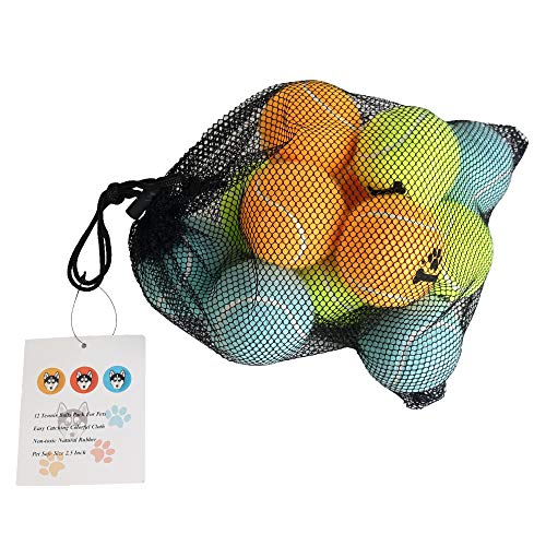 odear Tennis Ball for Dog Pack of 12 Colorful Easy Catching Pet Dog Ball