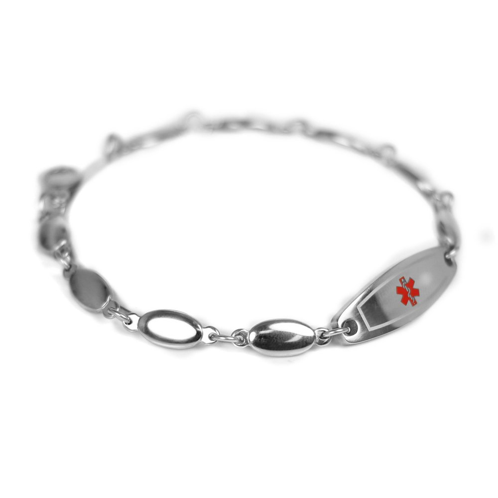 My Identity Doctor Womens Medical Alert Bracelet with Engraving, 316L Steel Drop, Extra Small - Red