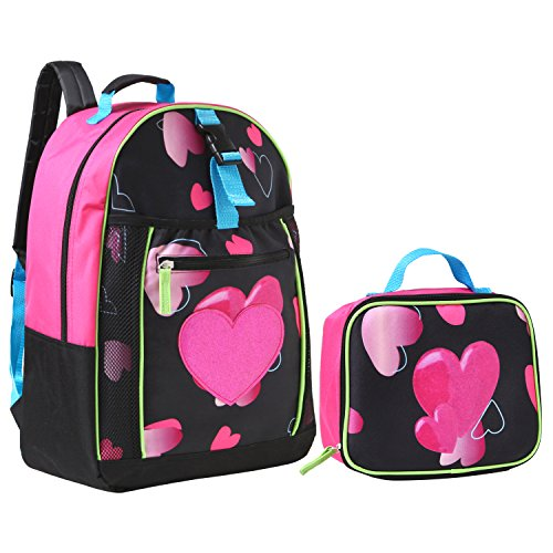 17.5 inch Glitter Heart Kids School Bag/Black Student Backpack w/Lunch Box -