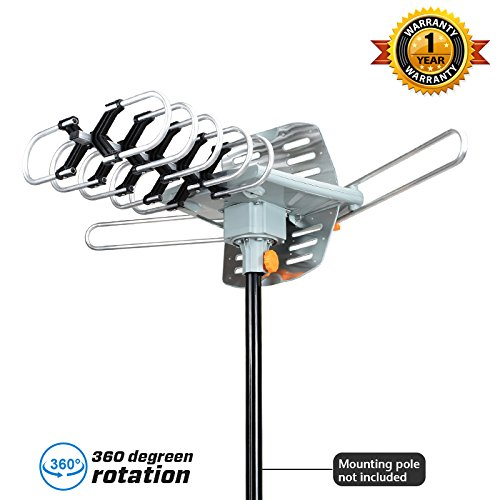 HDTV Antenna-SKYTV Amplified Digital TV Antenna 150 Miles Range 360° Rotation -UHF/VHF/FM Radio with Infrared Remote Control