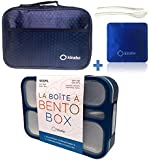 Bento Box with Insulated Bag and Ice Pack Set | Lunch-Box for Boys | 6 Compartment Leakproof School Boxes or Meal Portion Containers, BPA-Free | Navy Blue Kit